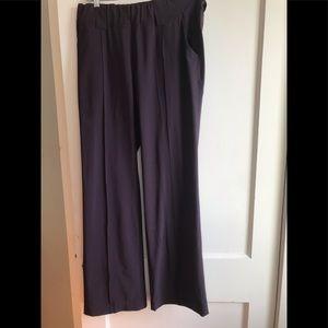 Athleta eggplant wide leg travel trousers